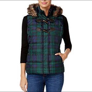 Charter Club Green Plaid Hooded Vest Size Medium